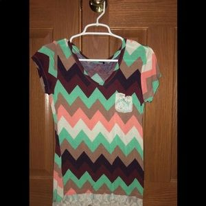 Tops - Cute chevron shirt with lace   Womans Small